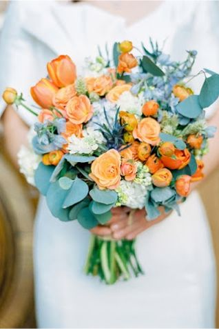 These are the colors in my wedding peach and teal or Tiffany blue.  I like this bouquet!