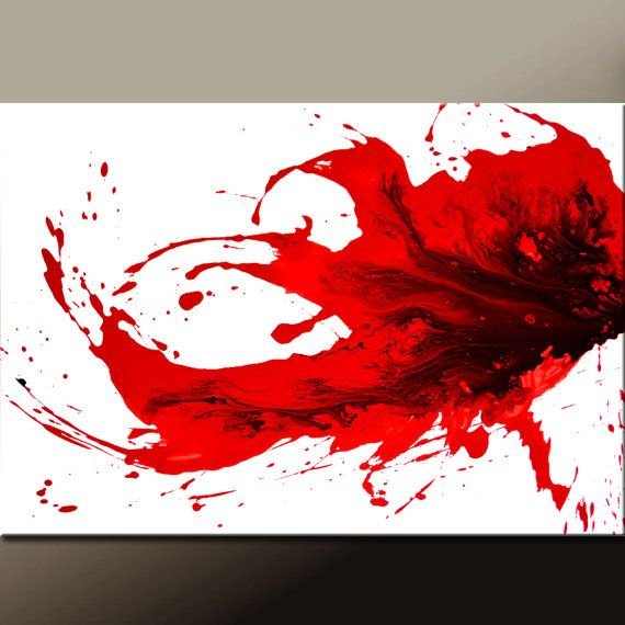 Red Abstract Canvas Art Painting 36x24 Original by wostudios, $149.00