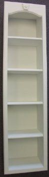 Recessed in wall solid wood bookshelf storage unit