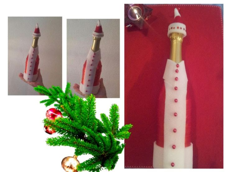 бутылка шампанского виде деда мороза на новый год