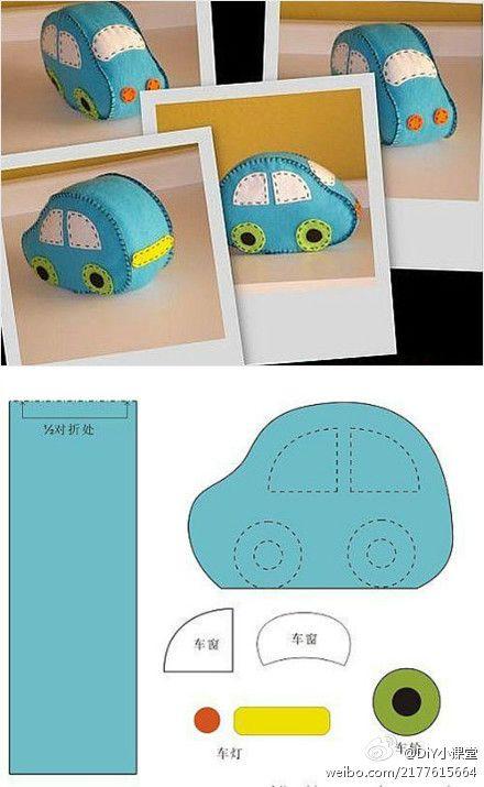 make this felt car 2D for a boys kippa clip or applique