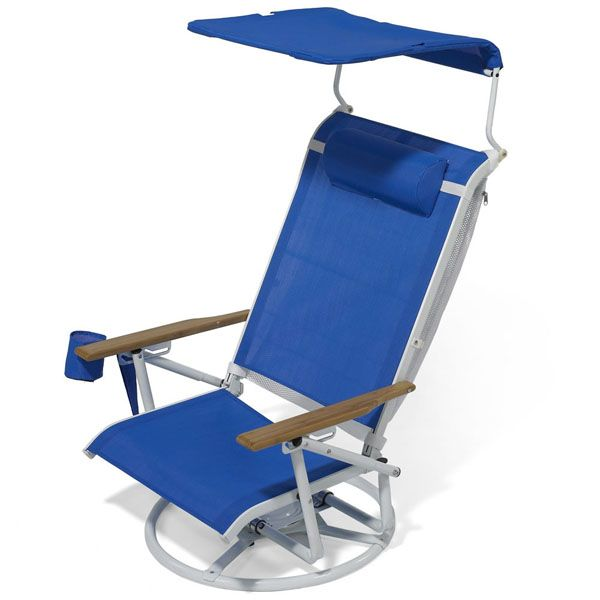"""Suntracking Beach Chair ~ We have two of these and never fail to have peeps come up to us and say """"WOW""""! No other beach chair for me!  It swivels to a full 360. has a shade cover, folds to easy carry, and is just really worth the money!"""
