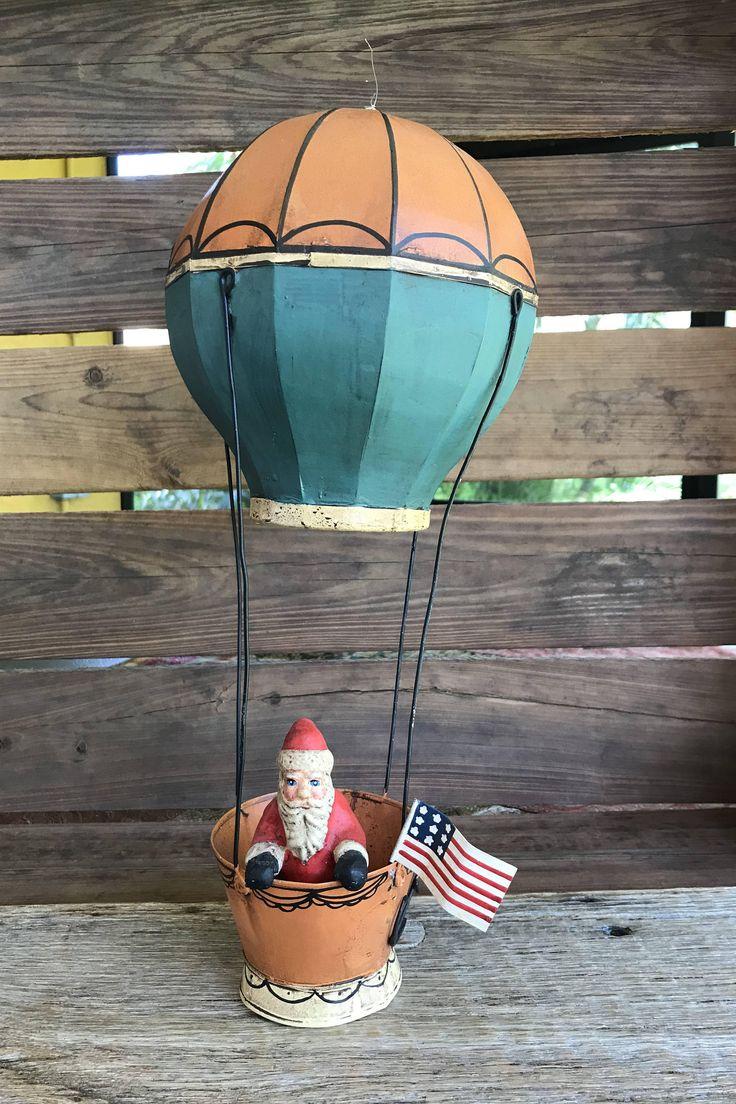 "Vintage Dept 56 Tin Hot Air Ballon and Santa Christmas Ornament Ceramic Santa Hot Air Balloon 14"" Toys In The Attic   http://etsy.me/2GPmi1m #housewares #homedecor #retrodecor #department56 #dept56santa #vintagechris"