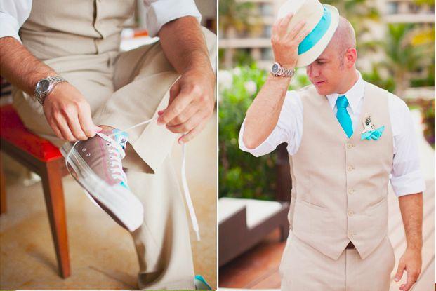Well-Groomed Groom: Cancun Casual - A #groom wears custom Converse, aqua tie, and fedora for a beachy Mexican #wedding. #mens #fashionCancun Mexico, Groomsman Attire, Tiffany Blue, Beach Weddings, Blue Colors, Wedding Attire, Wedding Outfit, Blue Wedding, Grooms Attire