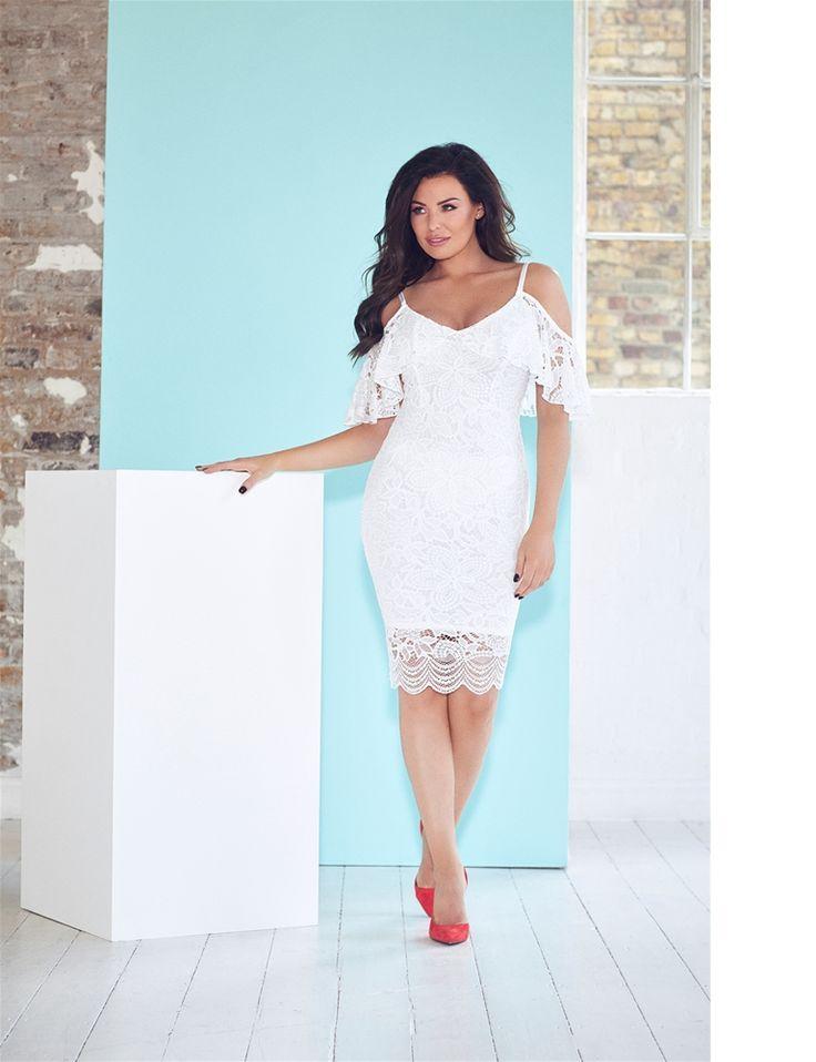 Jessica Wright Saydee White Lace Cold Shoulder Bodycon Dress  £65.00  This beautiful bodycon number is little white dress goals. Features a lovely lace overlay and cold shoulder detail. Style with soft curls and light make-up for a romantic feel.