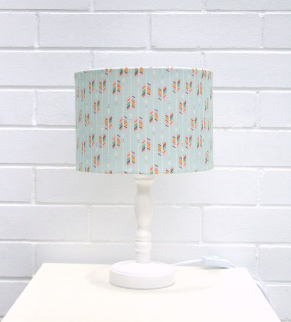 Pastel green rainbow arrows fabric lampshade small by MadeInFabric