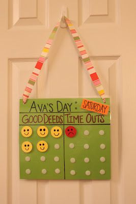 For the day this is used to guide behavior. If they act sassy or have a bad behavior they will get one red time out sticker. If they do a good deed they get a yellow smiley face sticker.