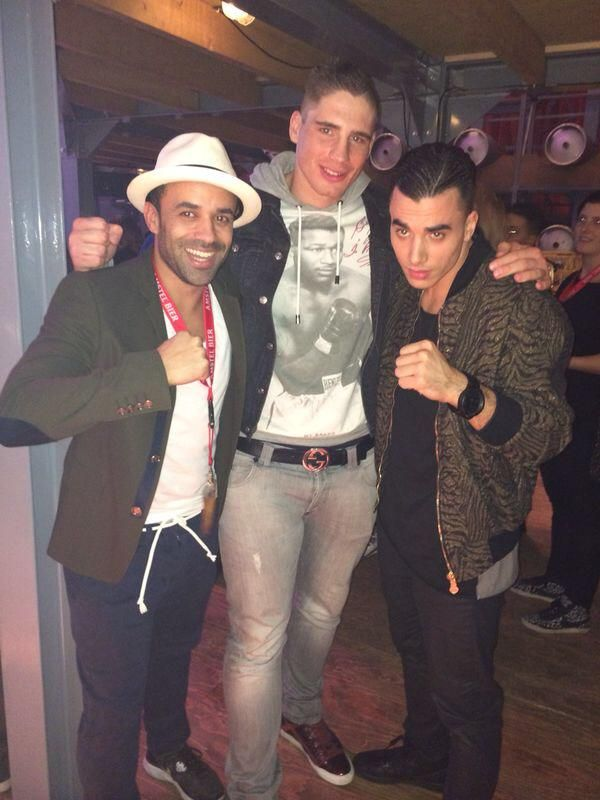 Timor Steffens with kickboxer Rico Verhoeven and Karim Erja (brand achitect) in 2014.