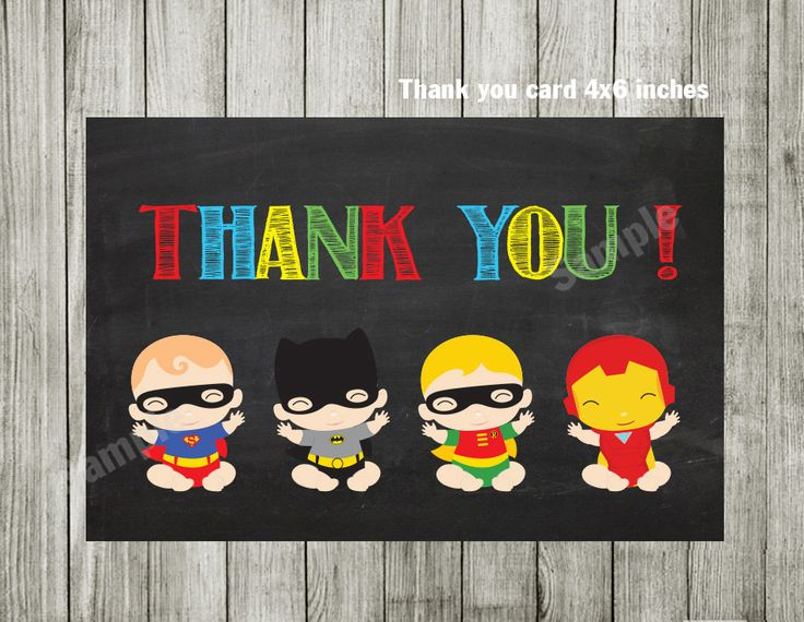 Super hero thank you card - Superhero thank you card - install download by BlueBabyStar on Etsy