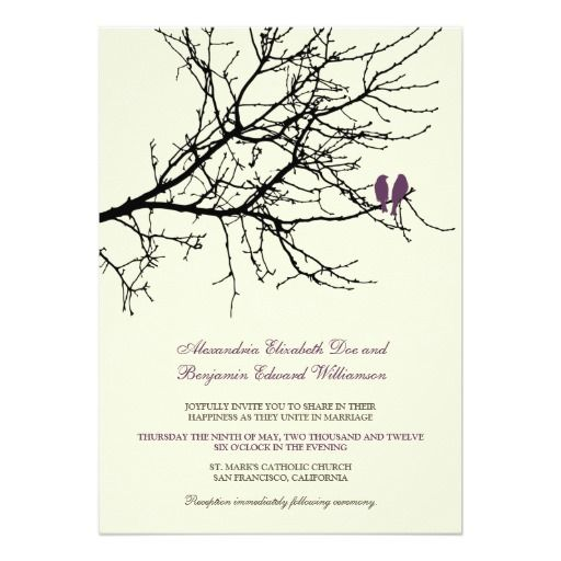Love Birds Branch Wedding Invitation (plum)