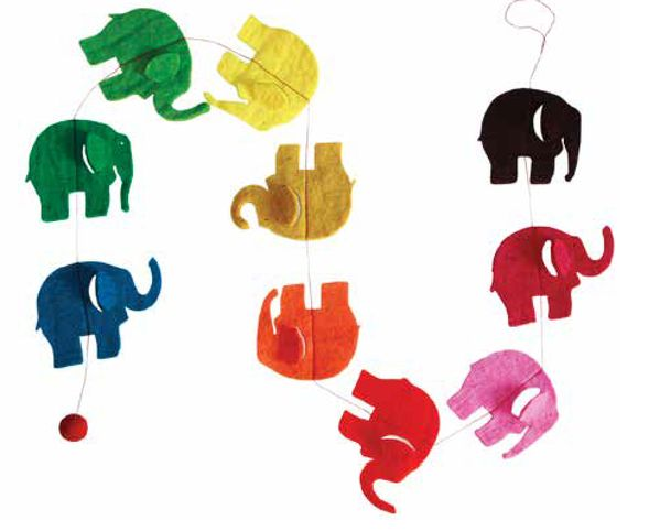 Hey-di, hey-di-ho the great big elephant is so slow... it's a rainbow garland made from  elephants! : Approx. 1.5m long, elephants 4 x 3.cm Our felt product