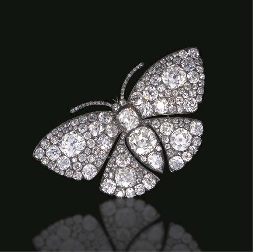 AN EXQUISITE ANTIQUE DIAMOND BUTTERFLY BROOCH The old mine, old European and pea...