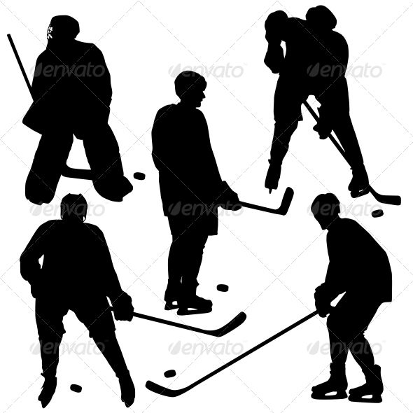 Set of Silhouettes of Hockey Player - Vector