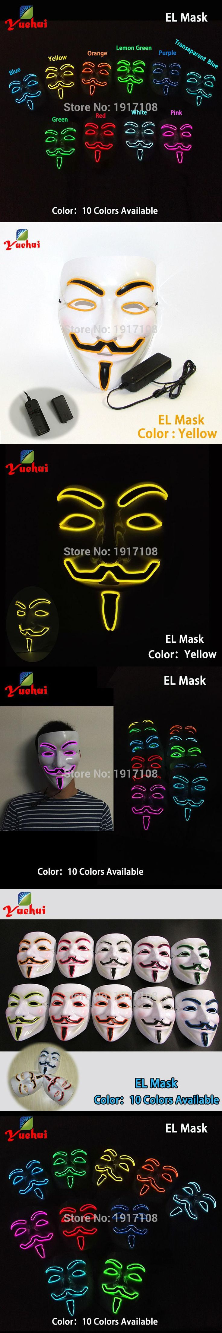 New DC-3V Fashion Halloween 10 colors Flashing Vendetta Mask el wire LED Mask glowing Neon MASK as Festival Carnival Party Mask