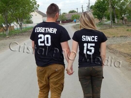 Set tricouri pentru cupluri Together Since 2017 (anul se personalizeaza)
