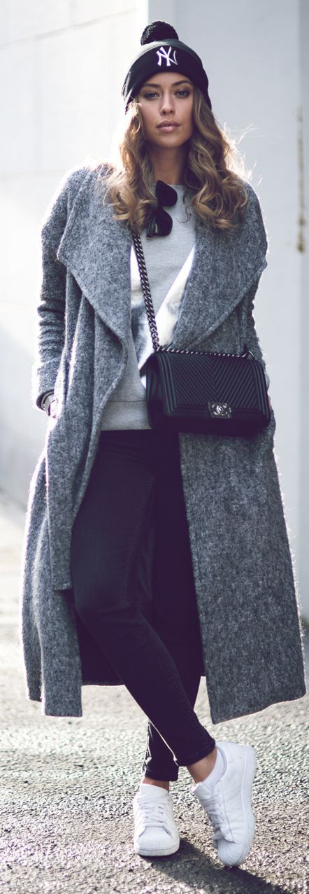Grey Oversized Chic Coat by Kenzas