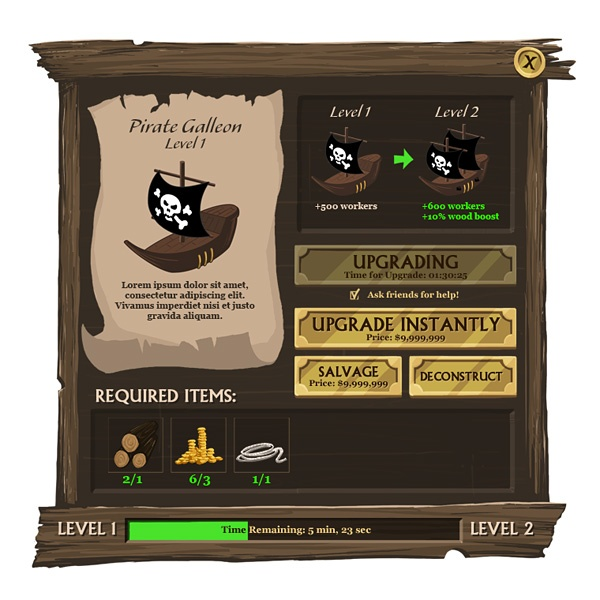 Pirate-Themed Social Game UI