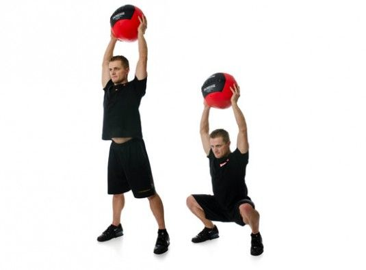 You can do the overhead squat with anything, including a medicine ball, a gallon of water or a gym bag!