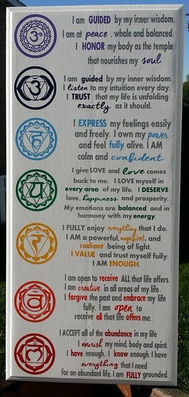 Chakra Affirmations Chakra Wood Sign Reiki by WordArtTreasures