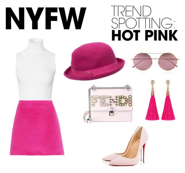 """""""HOT PINK NYFW TREND 💕"""" by diana-jevcakova on Polyvore featuring Christian Louboutin, Fendi, Calvin Klein, Helmut Lang, Mulberry, contestentry and NYFWHotPink"""