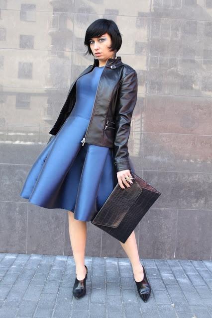 retro dress Inspiracja Butik, leather Jacket Inspiracja Butik, rock ring Diva, rock earrings Diva, purse Mohito, shoes Zara, glasses Brylove