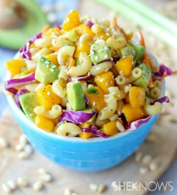 Asian pasta salad with mango and avocado in a sesame dressing!