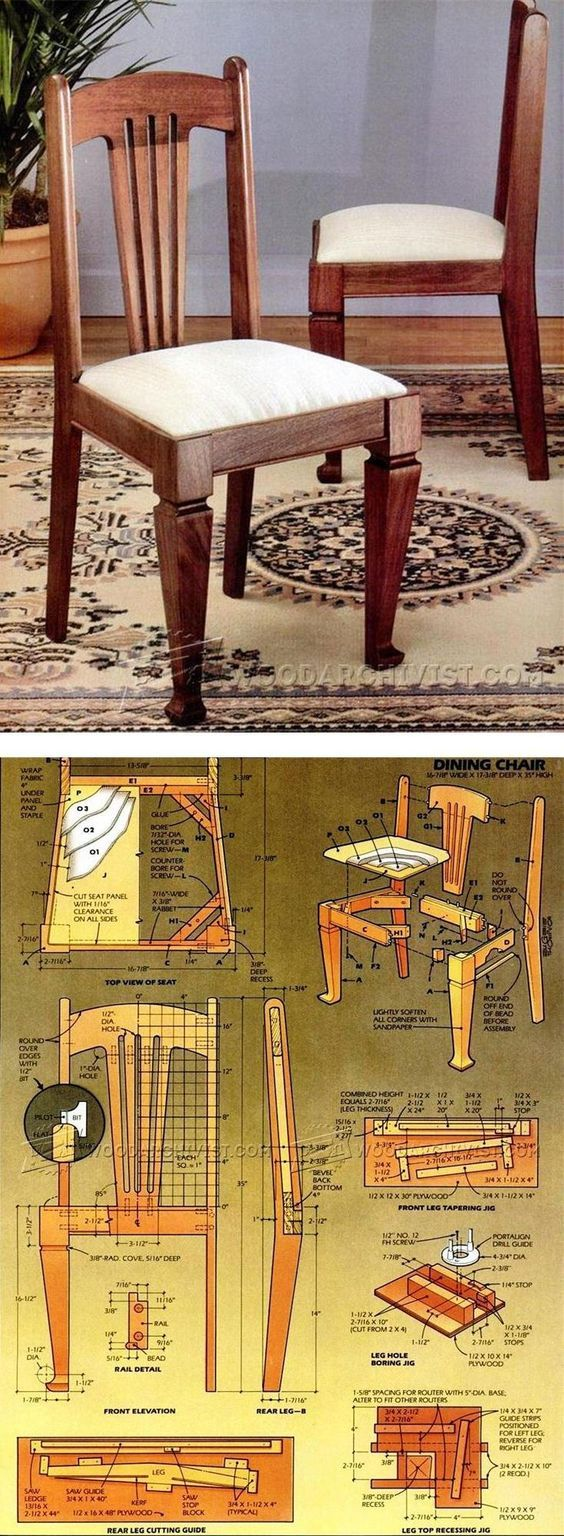 Dining Chair Plans - Furniture Plans and Projects    WoodArchivist.com