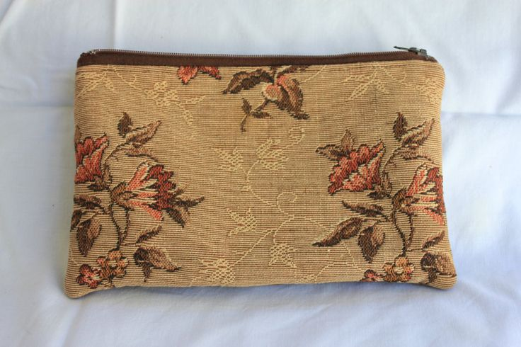 Small Padded Zip Pouch with Vintage  Fabric and Leather Trim by ByCatDesign on Etsy