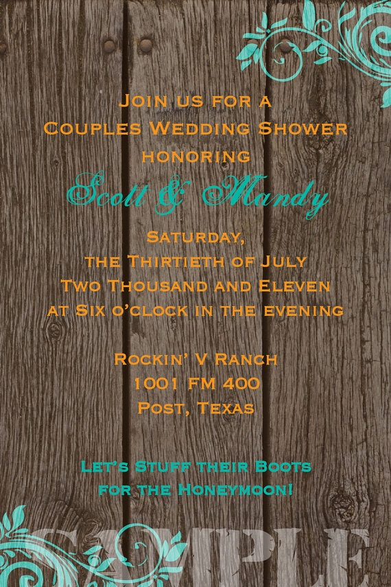 how early should you send out wedding shower invitations%0A Items similar to Rustic Country Western Couples Wedding Shower Printable  Invitation on Etsy