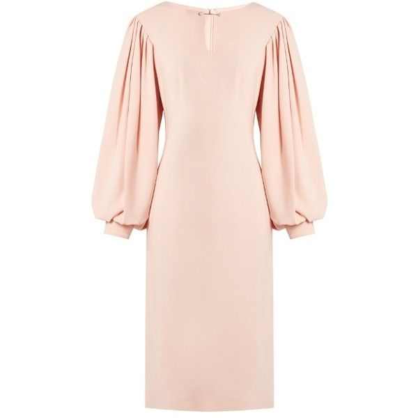 Osman Maddy balloon-sleeved crepe midi dress (84.655 ISK) ❤ liked on Polyvore featuring dresses, pink flower dress, pink dress, calf length dresses, pink midi dress and osman