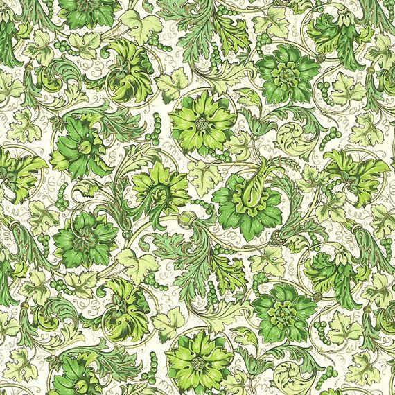 Made In Italy Authentic Florentine Paper Green Flowers By Rossi  R116GR