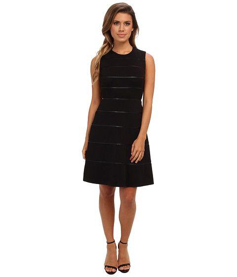 Calvin Klein Ponte Striped Sleeveless A-Line Dress