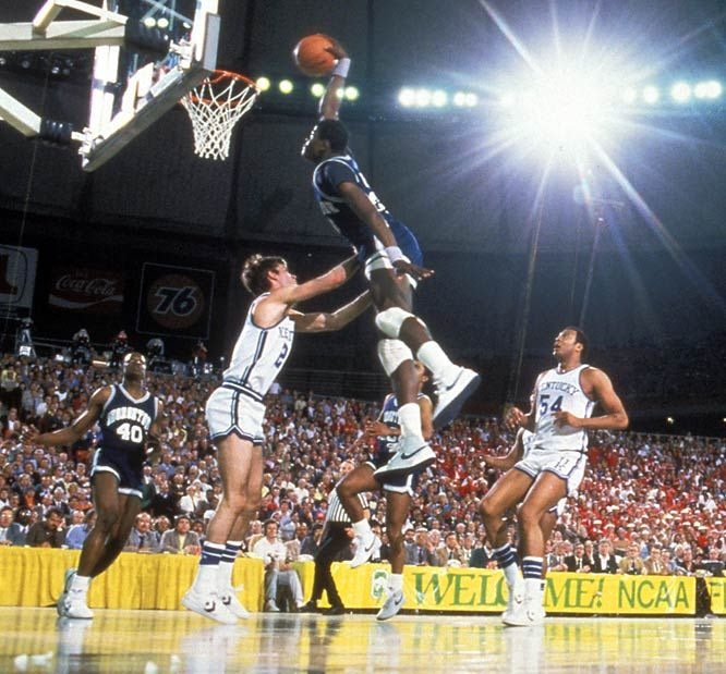 1984  Patrick Ewing of Georgetown goes up for a signature dunk during a Final Four semifinal in Seattle. Georgetown defeated Kentucky 53-40 to advance to the championship game.  Photo by Rich Clarkson. He has been to every Final Four game since 1952. Legendary sports photographer.