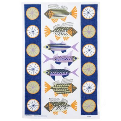 A cheerful collection of fish designed by Ulla Baarnhielm feature on this linen/cotton tea towel  47cm x 70cm 55% linen 45% cotton. Available from www.newhousetextiles.co.uk
