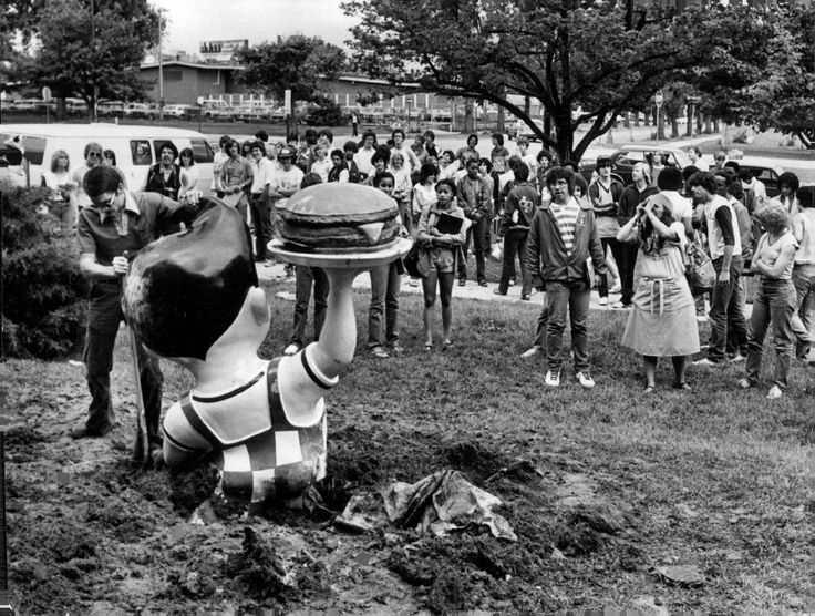 The Big Boy's statue was stolen from the Azar's restaurant at 4115E. Colfax Ave during the night, apparently as a senior-class prank. East High School seniors attended their last day of school Friday. School employee Bob Grantham is shown trying to remove the statue on May 28, 1981. Photo: Glen Martin, Denver Post Via Getty Images