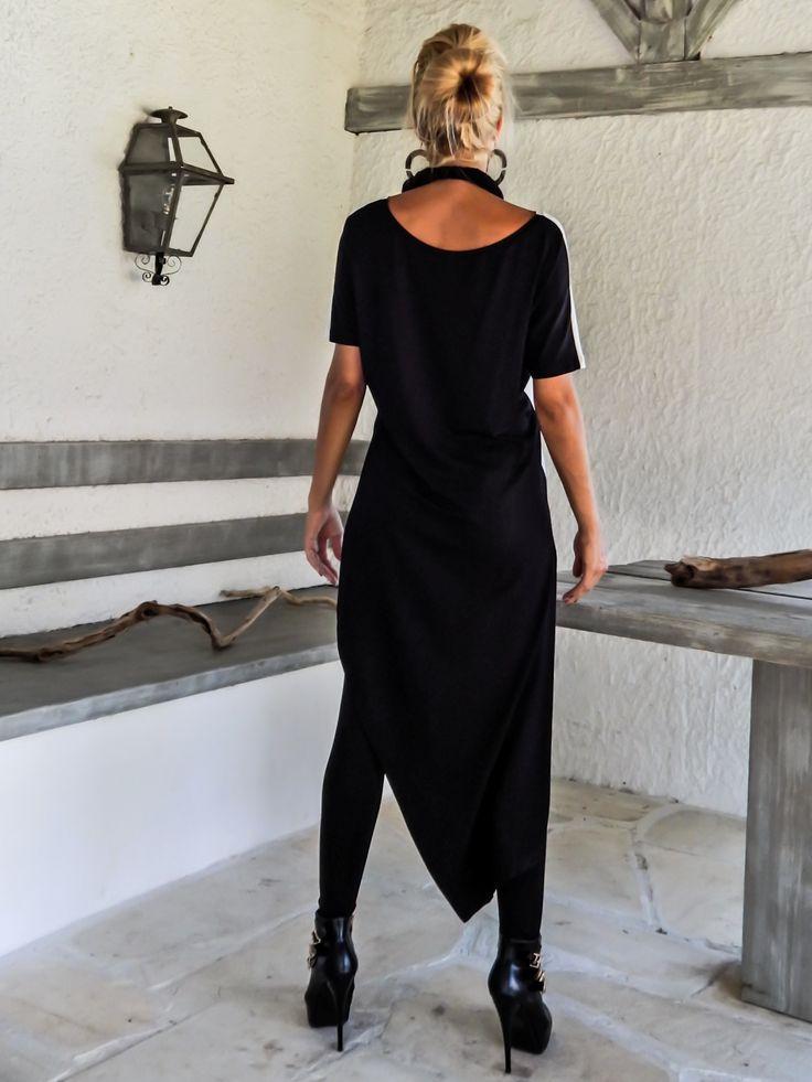 Black & Ivory Asymmetric Blouse / Black and Ivory Tunic / Asymmetric Blouse / Oversize Loose Blouse / #35107