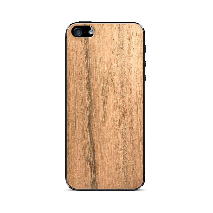Para iPhone 5Incluye lámina protectora frontal y traseraPara retirar skin fácilmente luego de uso, instalar lámina protectora trasera incluida y luego skin sobre ella.100% Madera