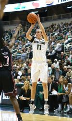 The Michigan State women's basketball team wrapped up its non-conference schedule on Saturday 12.29.12 with a 57-47 win over Temple at Breslin Center. The Spartans, who will enter Big Ten play at 12-1, were led by 16 points from junior Annalise Pickrel, while senior Courtney Schiffauer added 10.