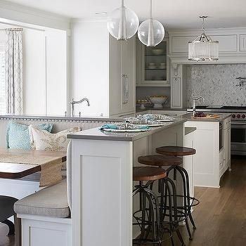 Kitchen Island With Built In L Shaped Dining Banquette In