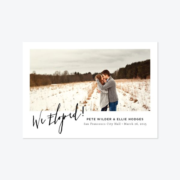 Angled Photo Elopement Announcement One Skipt Paper Co 1