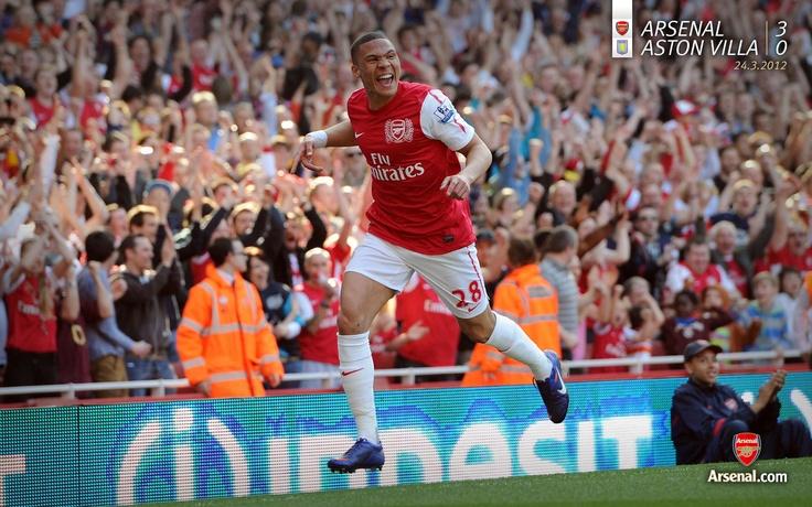 Arsenal 3-0 Aston Villa. Kieran Gibbs celebrates his first Arsenal League goal