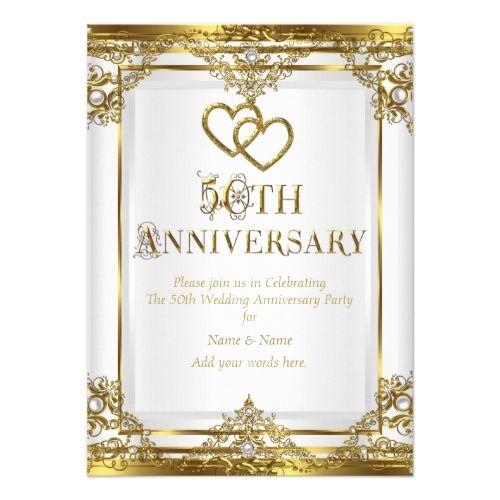 50th Wedding Anniversary Party 50th Anniversary Elegant Gold White Pearl Card