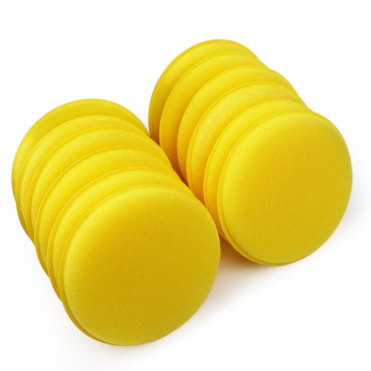 Car Wax Sponge Applicator Pads 12 pcs/set Tyre Dressing Foam Yellow Anti-Scratch Car Care Car Cleaning Tool #iCarmo