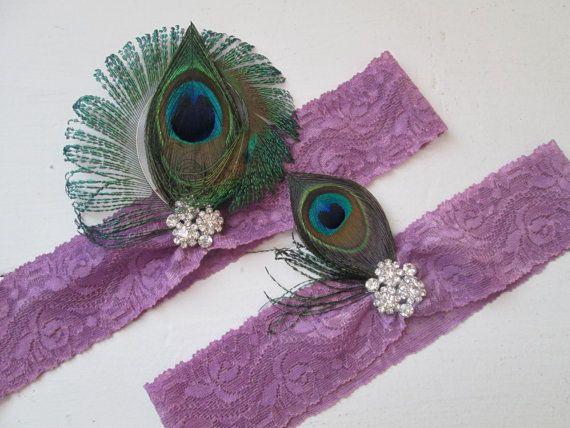 Peacock Wedding Garter Set, Purple Orchid Garters, Purple Lace Bridal Garters w/ Pearls, Country- Rustic- Gatsby- Peacock Bride