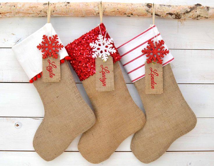 Burlap Stockings Set of 3 - Red & White Collection - Christmas Stockings, Family Stockings, Stockings, Monogrammed Stockings, Stocking Set by TwentyEight12 on Etsy https://www.etsy.com/listing/165941104/burlap-stockings-set-of-3-red-white