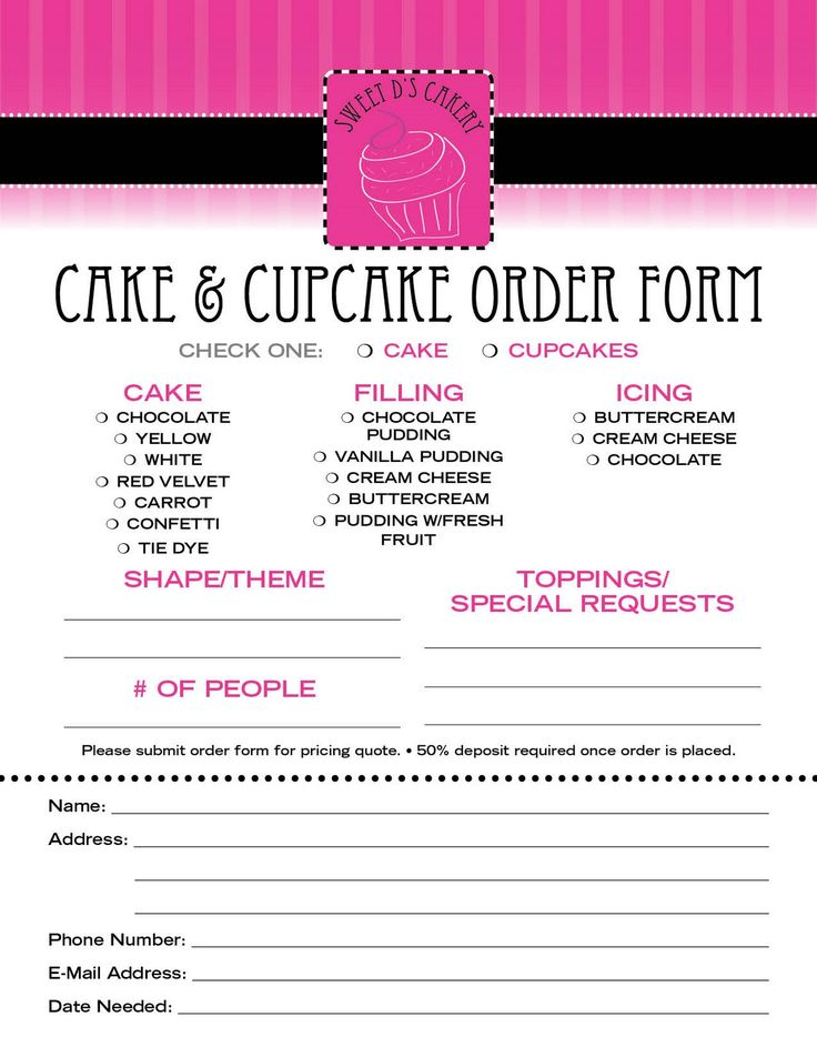 23 best CAKE ORDER FORMS images on Pinterest Bakery shops, Cake - cupcake order form
