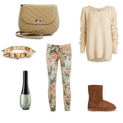 Daily,winter outfit made by Broshka.  Beige bag is available on www.broshka.pl