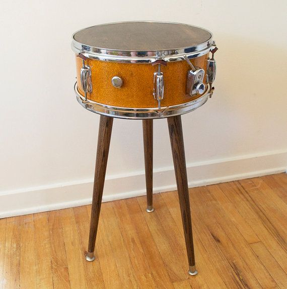 Mid Century Modern Inspired Vintage Snare Drum Table