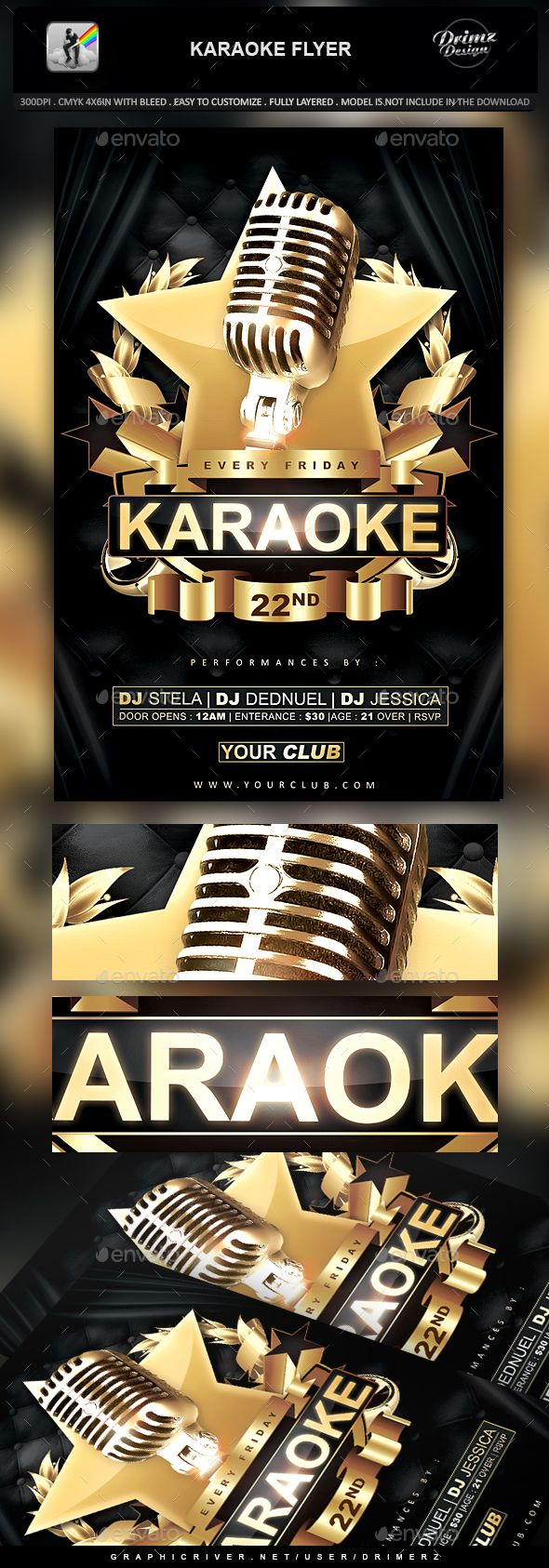 Karaoke Flyer  #gold #music flyer • Click here to download ! http://graphicriver.net/item/karaoke-flyer/16207113?ref=pxcr