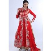 Rose-madder Red Net Embroidered Party and Festival Lawn Kameez
